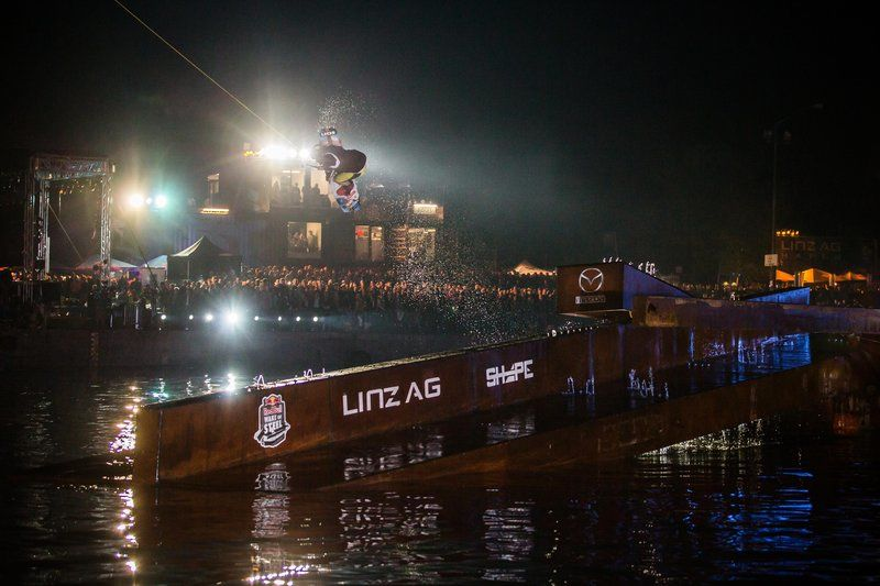 Daniel Fetz performing at the Red Bull Wake of Steel night session in Linz, Austria.